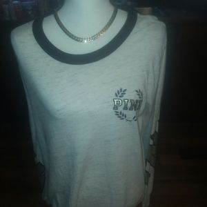 Vs pink long sleeved tee with bling